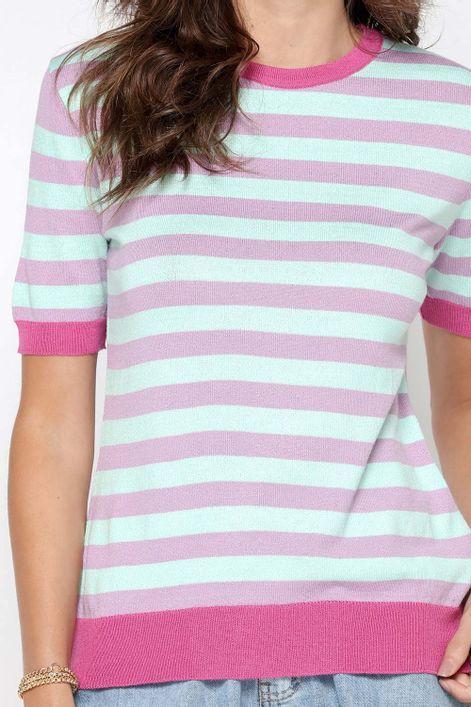 T-shirt-em-tricot-listrada-manga-curta